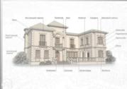 Декоративные элементы фасада карнизы,  оконное обрамления